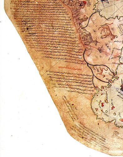 Şekil 1 Ceylan derisine çizilen Piri Reis haritasında derinin boyun kısmına gelen daralan bölge