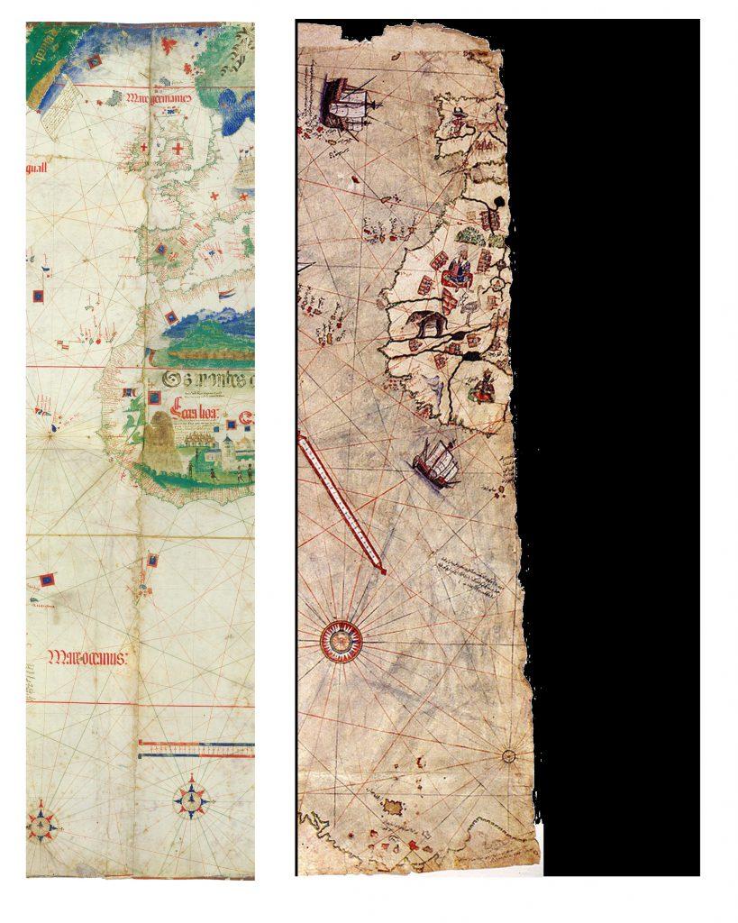 Şekil 10 Cantino Haritası ve Piri Reis haritasının ilk kat izi hizaları