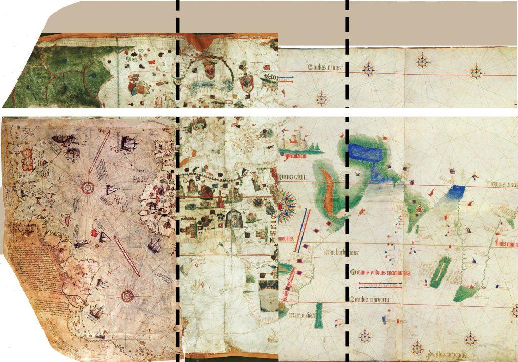Şekil 12 : Haritanın Tahmin edilen bütüncül görüntüsü. (Boş kısımlar Juan de la Cosa ve Cantino haritaları ile doldurulmuştur.)