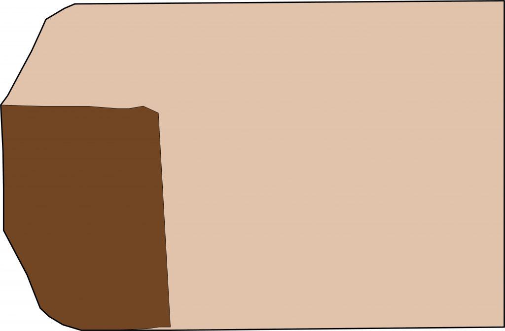 Şekil 4 Piri Reisin haritasının bulunan parçası (Kahverengi) Haritanın tamamını oluşturduğu tahmin edilen kısmı (Deri rengi)